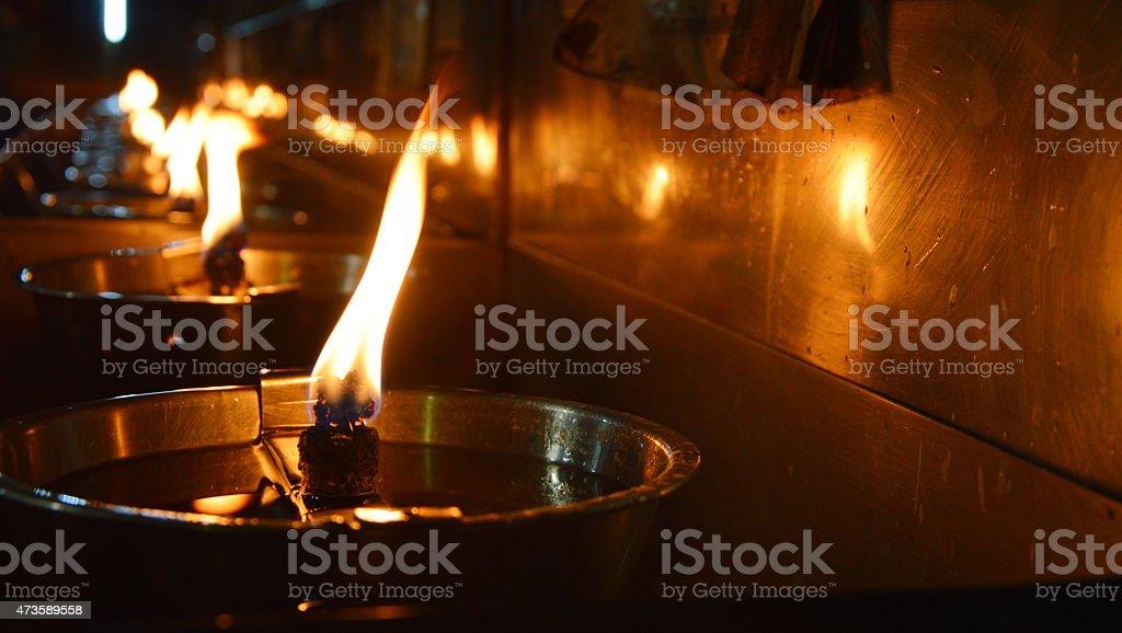 oil lantern light for blessing stock photo