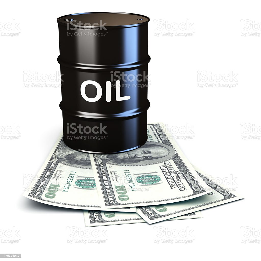 Oil market concept with a barrel and dollar bills stock photo