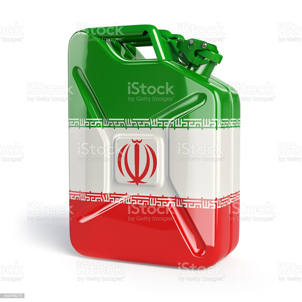 Oil of Iran. Iranian flag painted on gas can. stock photo