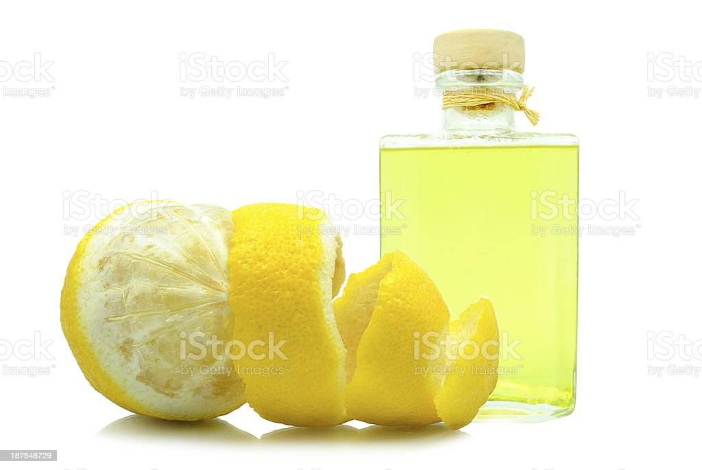 oil of lemon peel stock photo