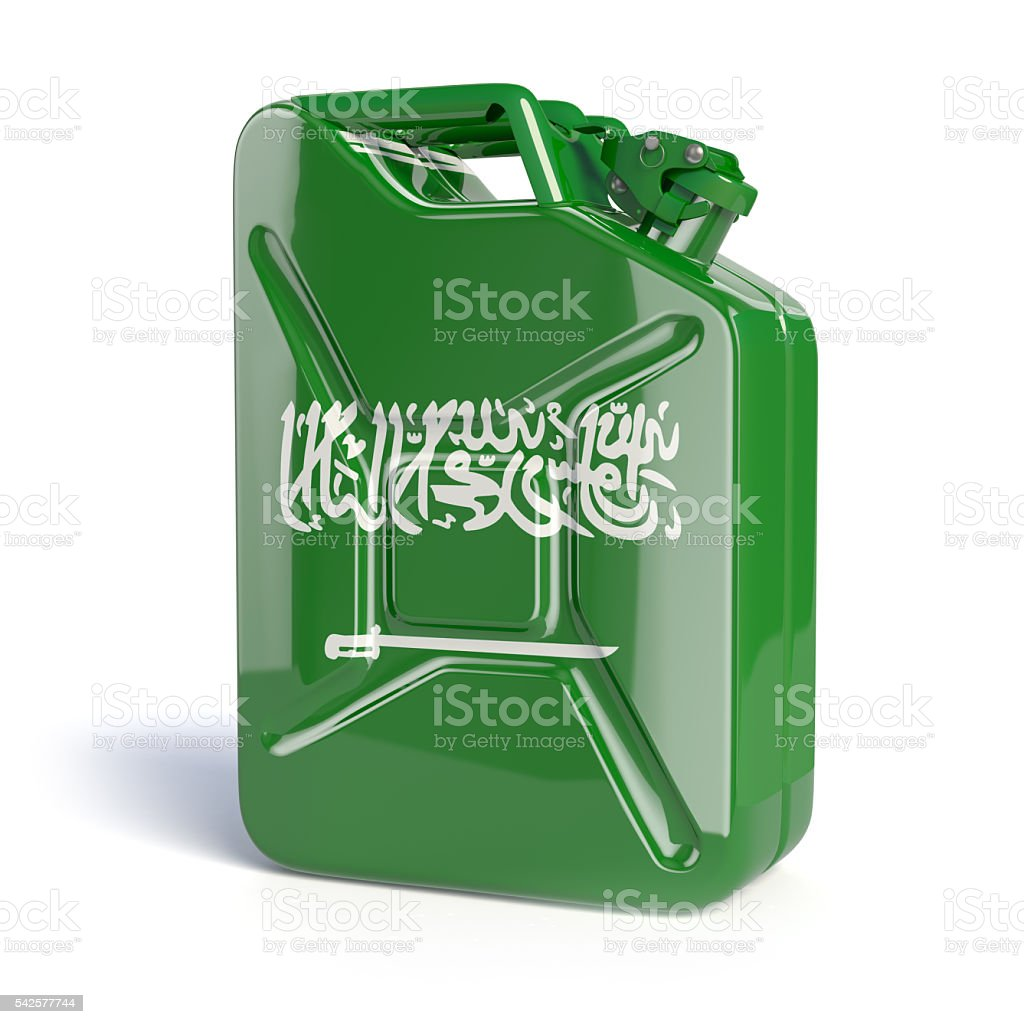 Oil of Saudi Arabia. Arabian flag painted on can. stock photo