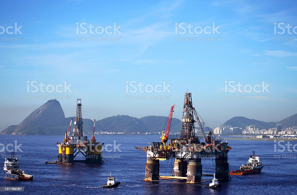 Oil offshore platforms in Rio de Janeiro stock photo