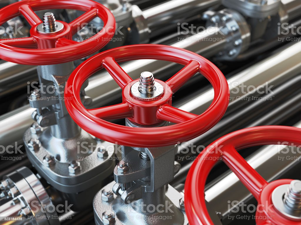 Oil or gas pipe line valves. stock photo