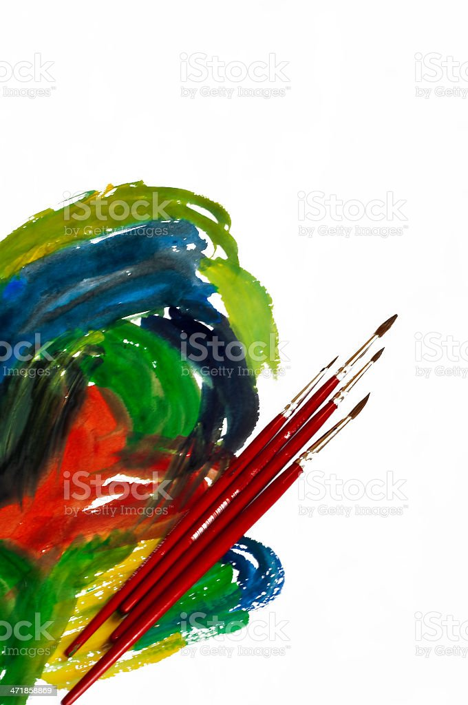 Oil Paint and Brushes royalty-free stock photo