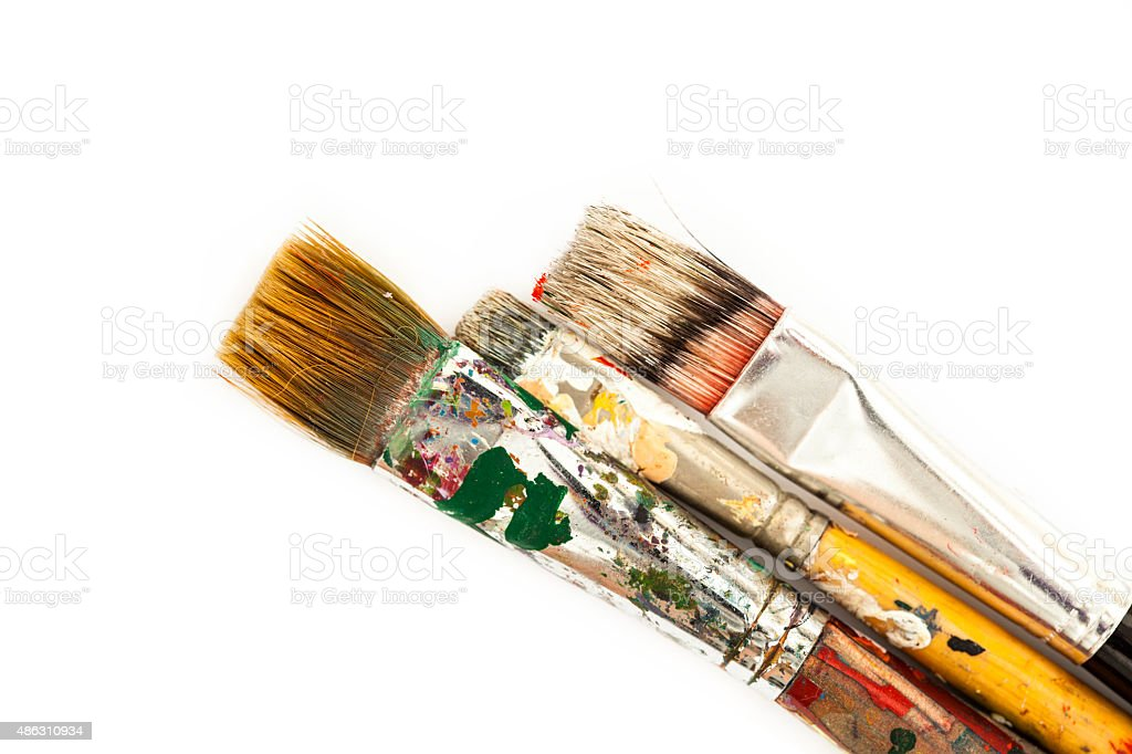 Oil paint brushes stock photo