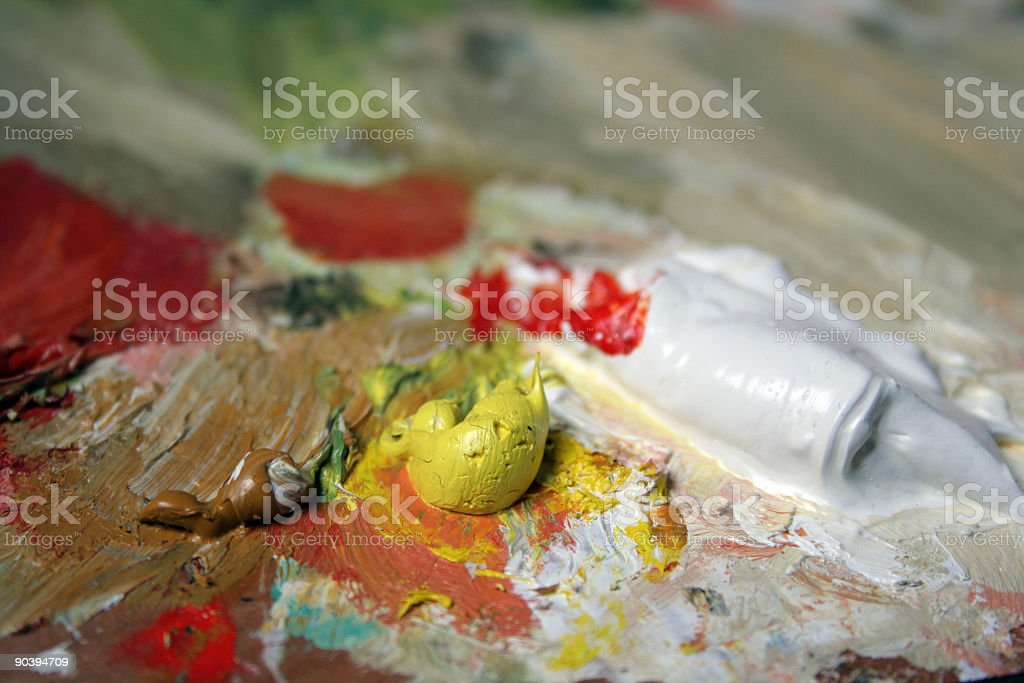 Oil Paint on a classical palette royalty-free stock photo