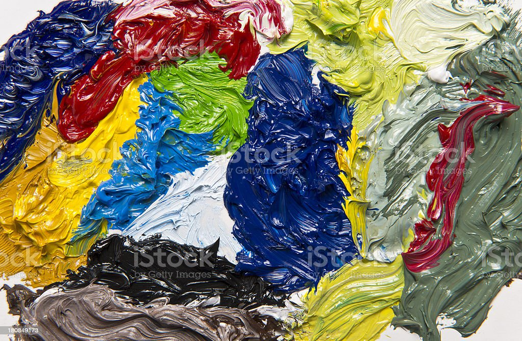 Oil paint palette royalty-free stock photo