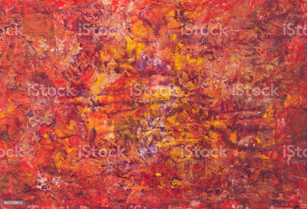 Oil paint red yellow abstract background. Palette knife paint...
