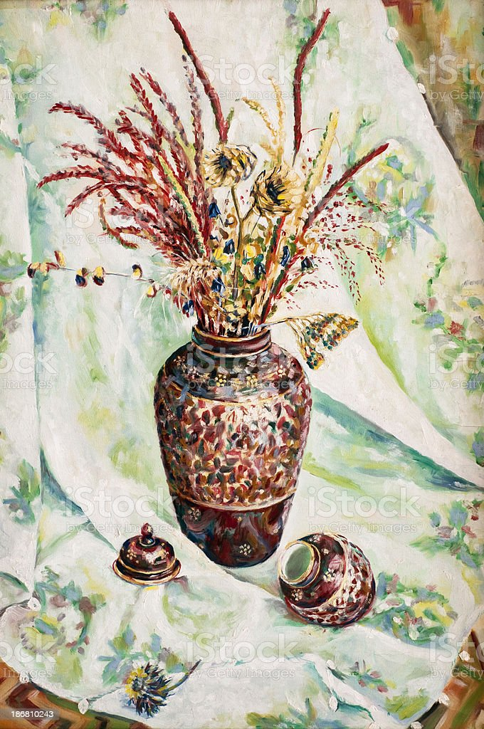 Oil painted Vase with dried flowers stock photo