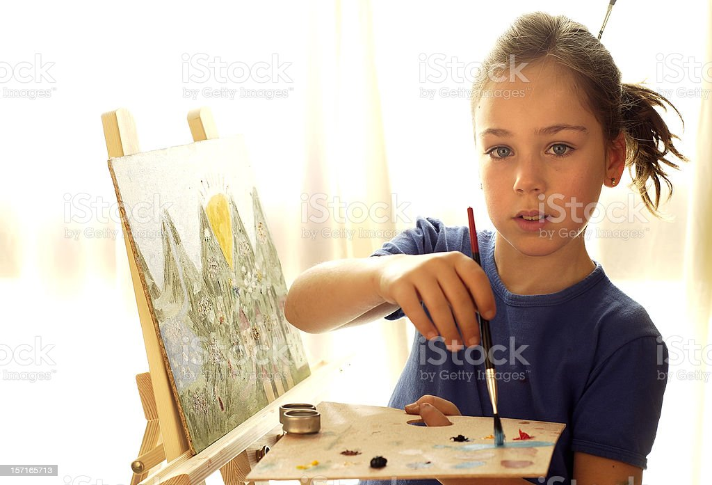 Oil painting by a child royalty-free stock photo