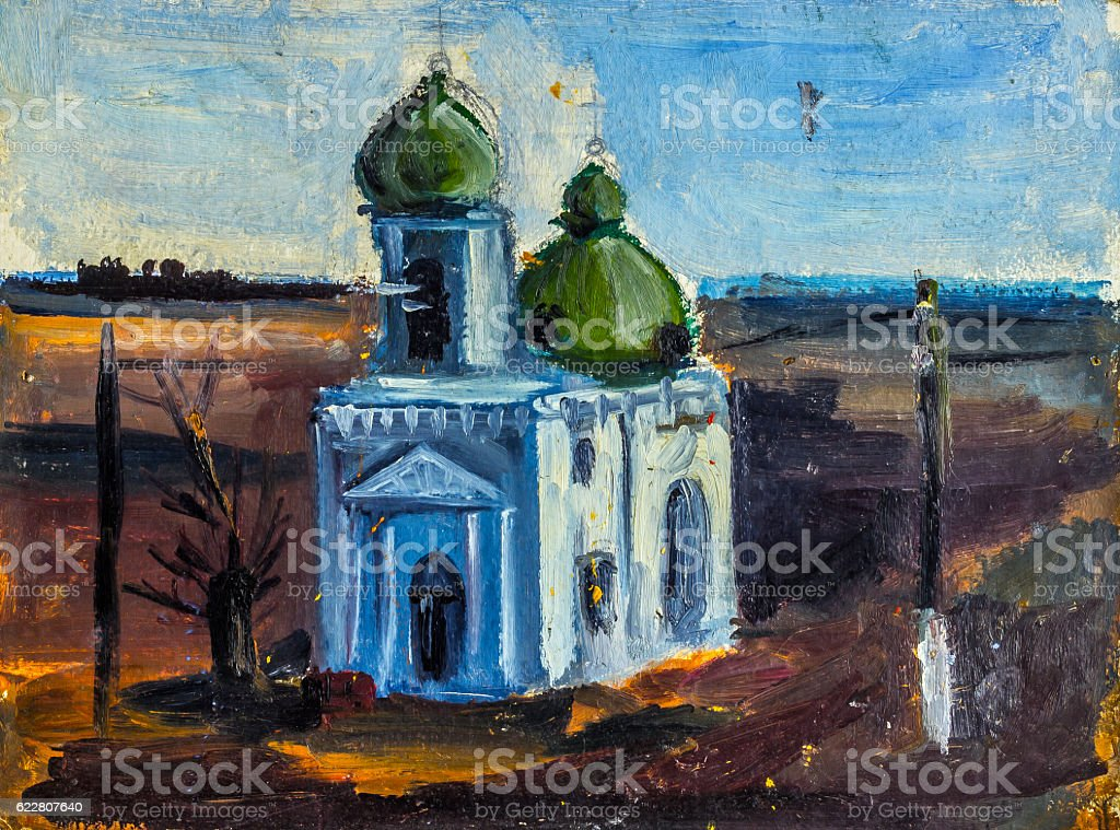 Oil Painting Church royalty-free stock photo