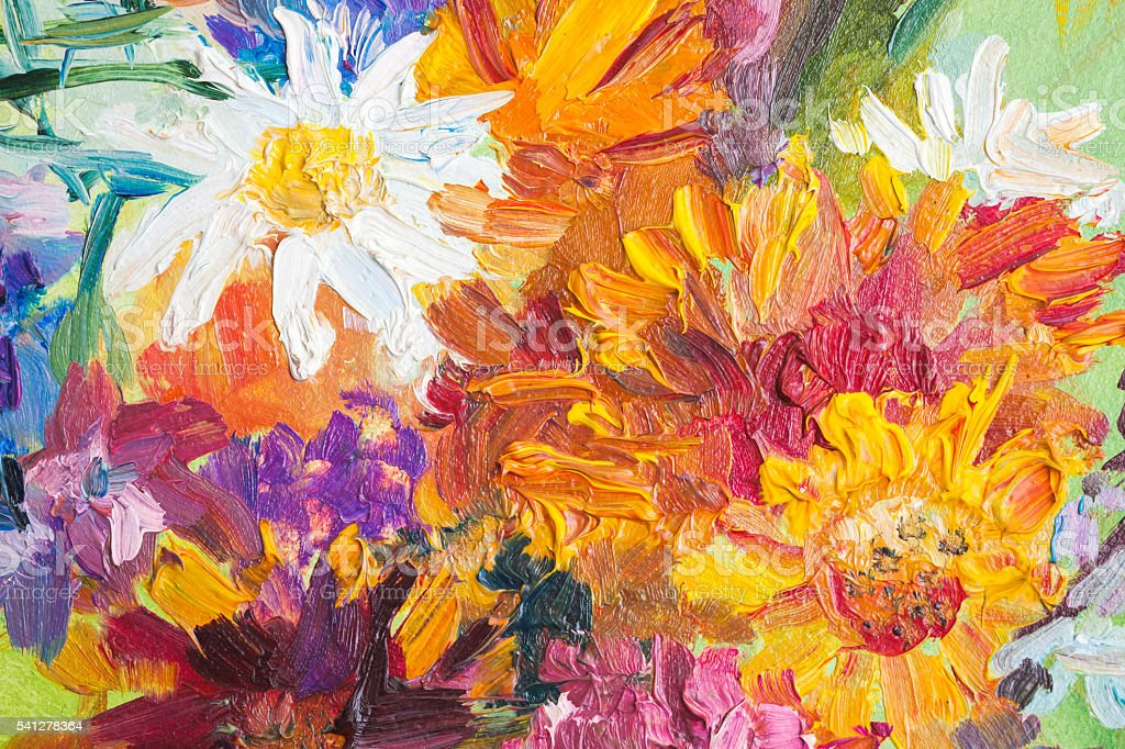 Oil painting, closeup fragment. Colorful bouquet stock photo