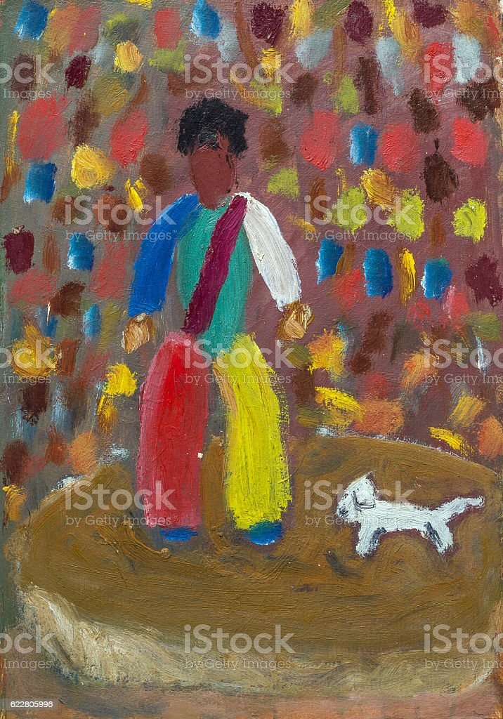 Oil painting clown with a dog royalty-free stock photo