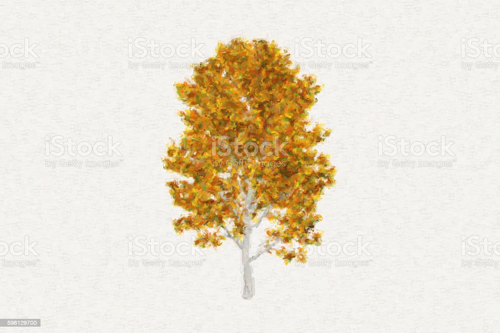 Oil painting in the style of a big tree stock photo