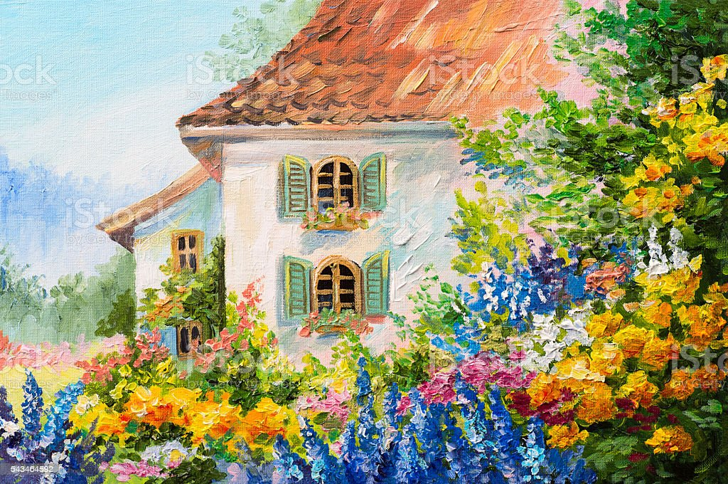 oil painting landscape, house in the flower garden, abstract stock photo