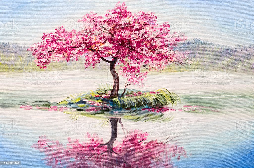 oil painting landscape, oriental cherry tree, sakura on the lake stock photo