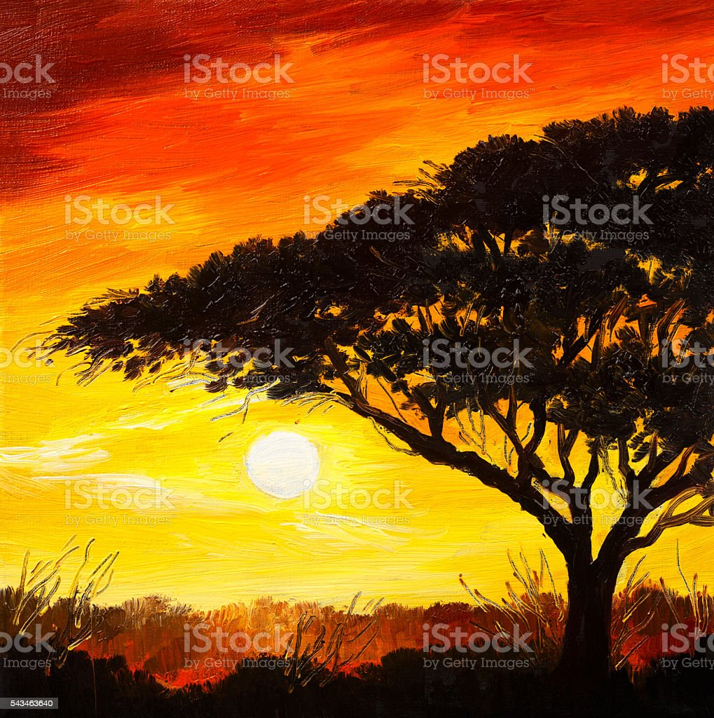 oil painting landscape - sunset in the forest, wallpaper, bright stock photo