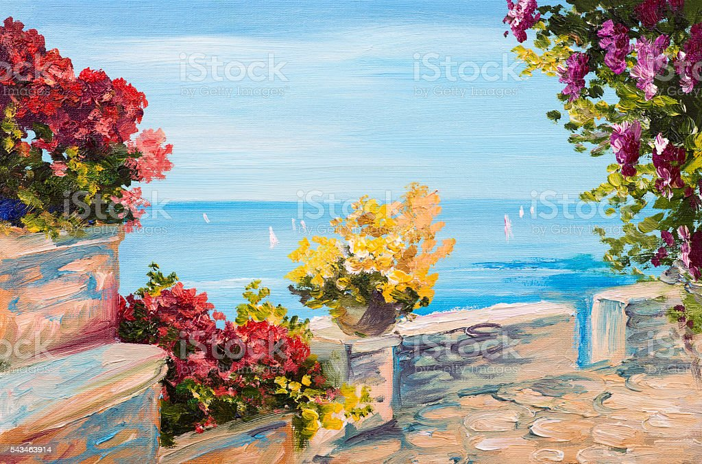 Oil painting landscape - terrace near the sea, flowers stock photo