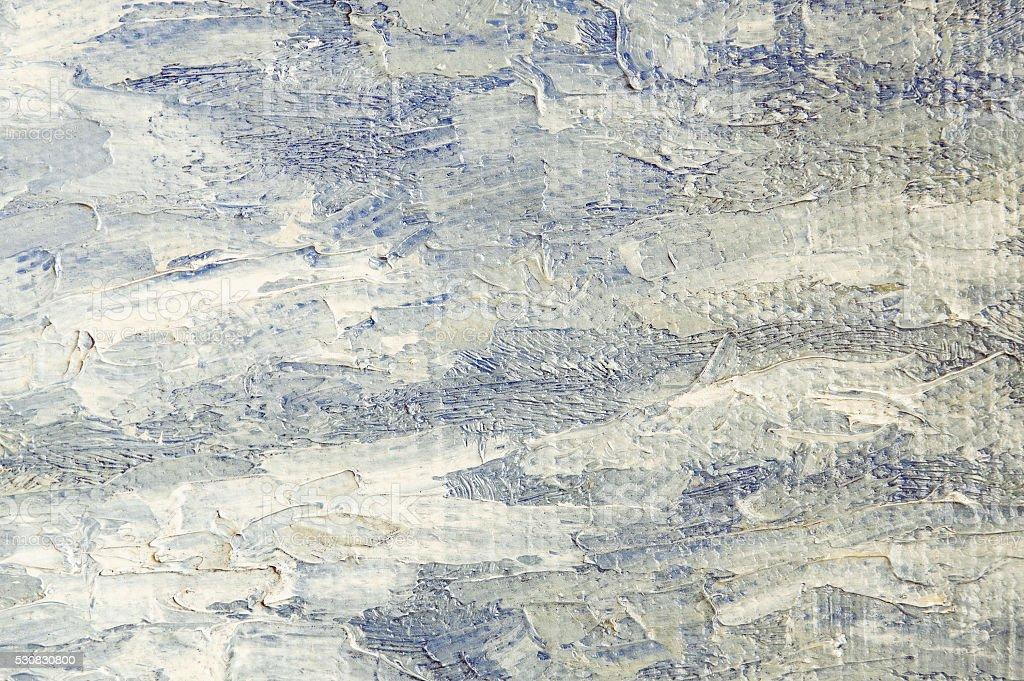 Oil painting light blue vintage background. Palette knife oil paint. stock photo