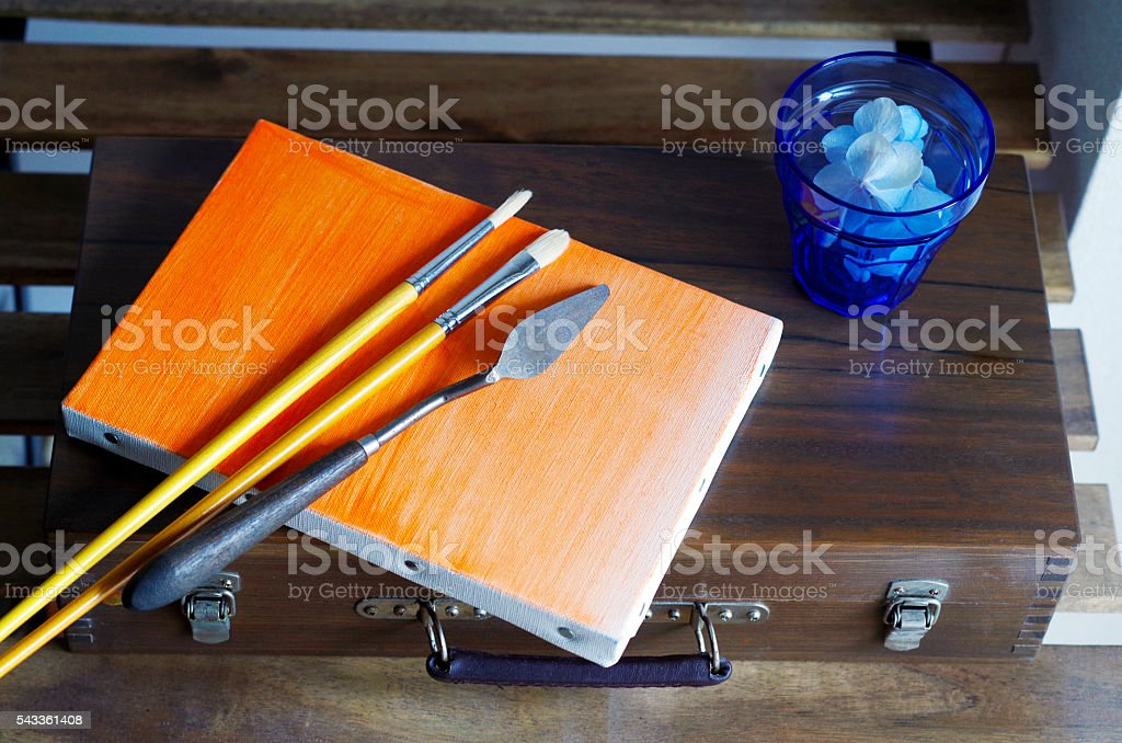 oil painting materials + blue grass stock photo