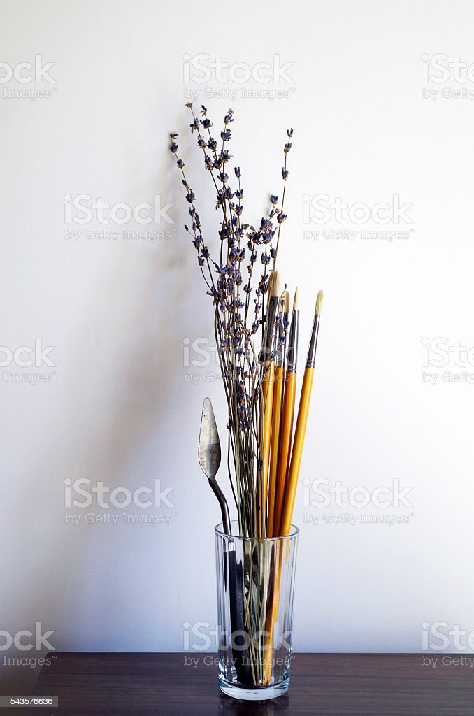 oil painting materials stock photo