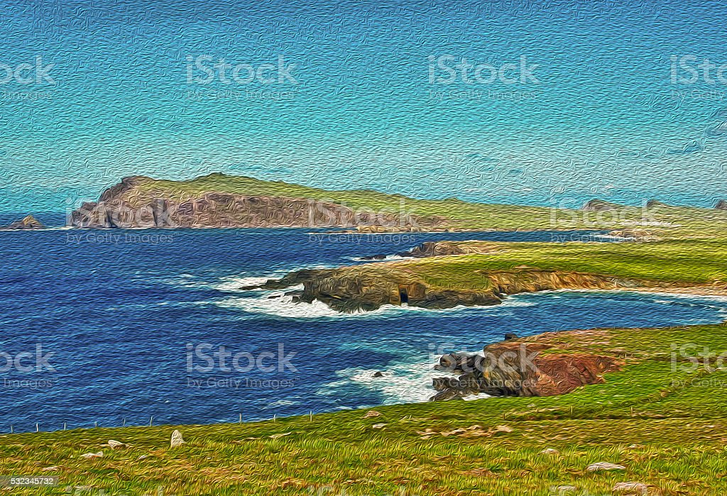 oil painting of a seascape in ireland stock photo