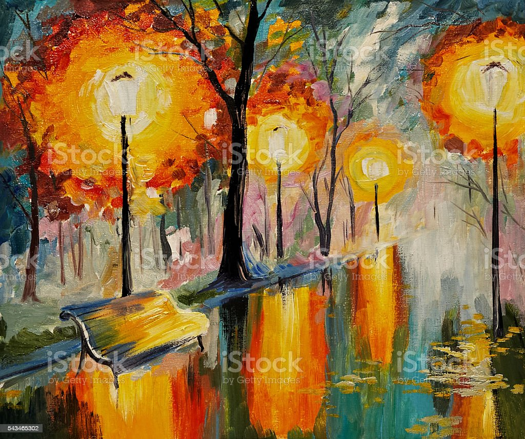 Autumn Street Painting Art - 1680x1050