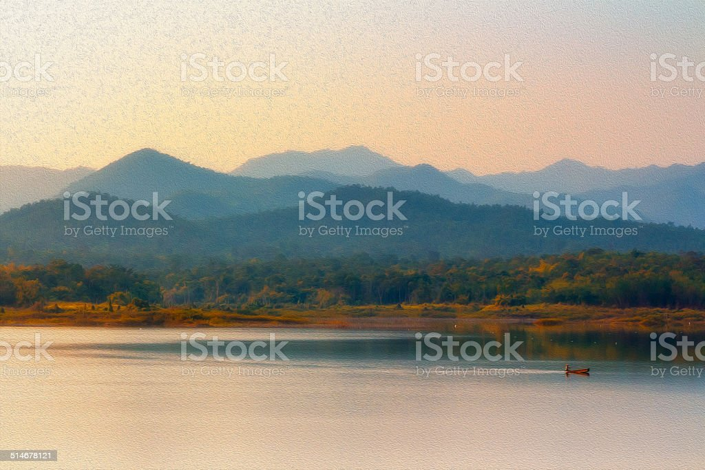 oil painting of beautiful reservoir stock photo