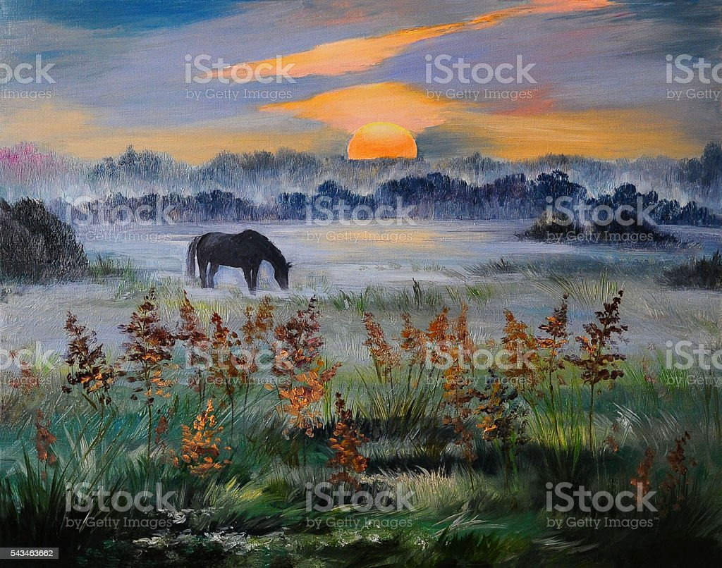 Oil painting of field at sunset, art work stock photo