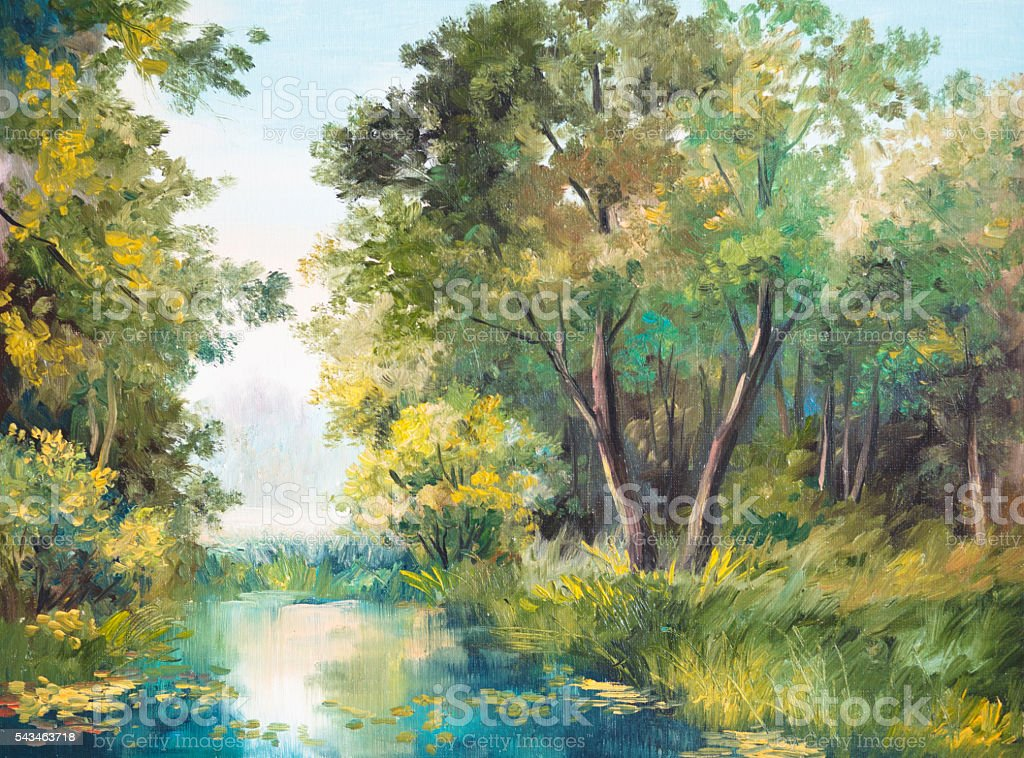 Oil Painting of forest landscape - pond in the forest stock photo