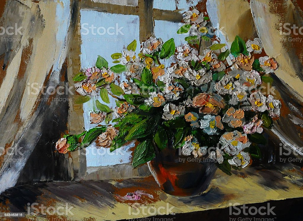 Oil painting of spring flowers in a vase on canvas stock photo