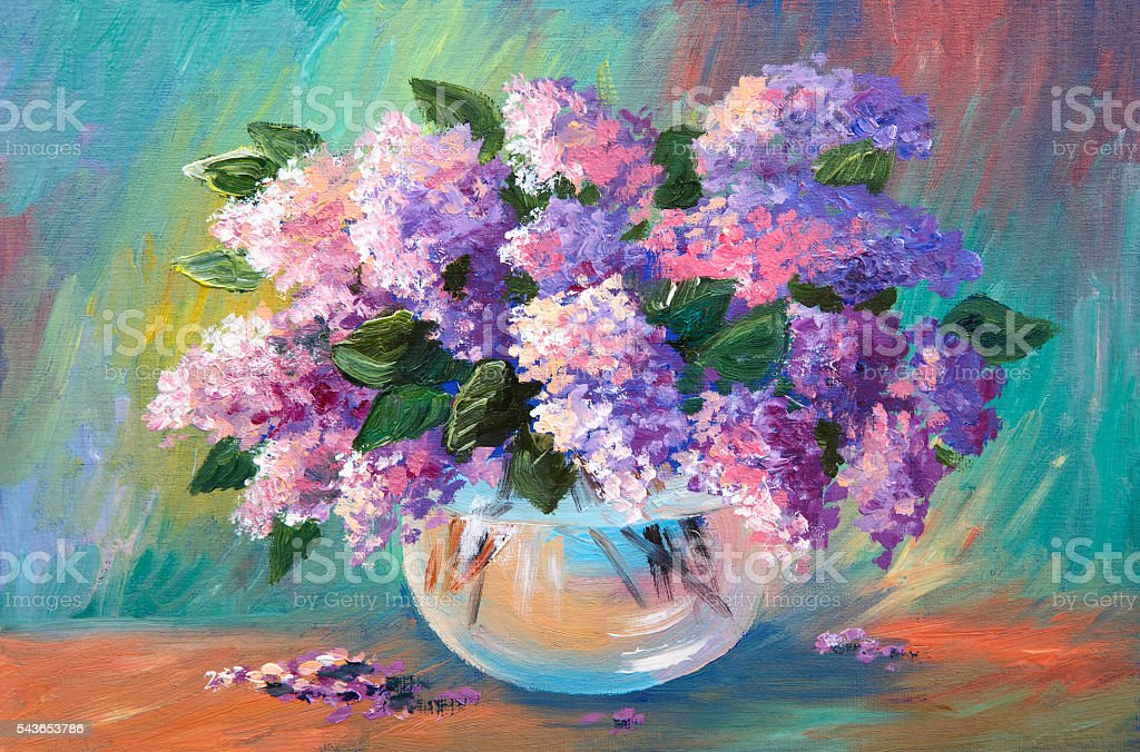 Oil painting of spring lilac  in a vase stock photo