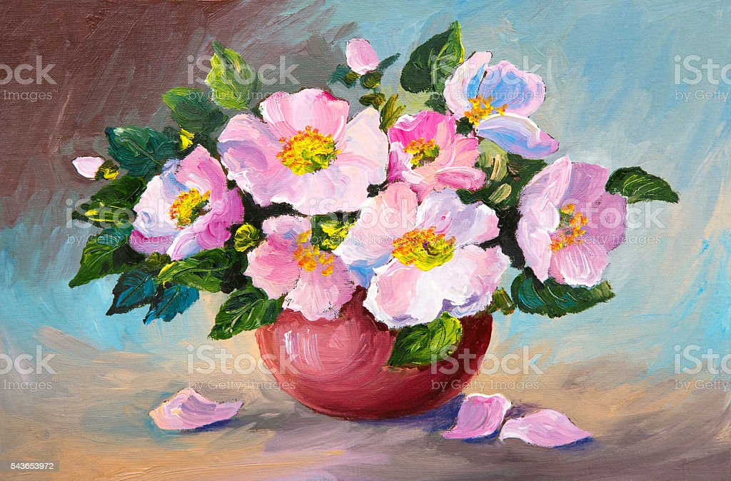 Oil painting of spring pink wild roses stock photo