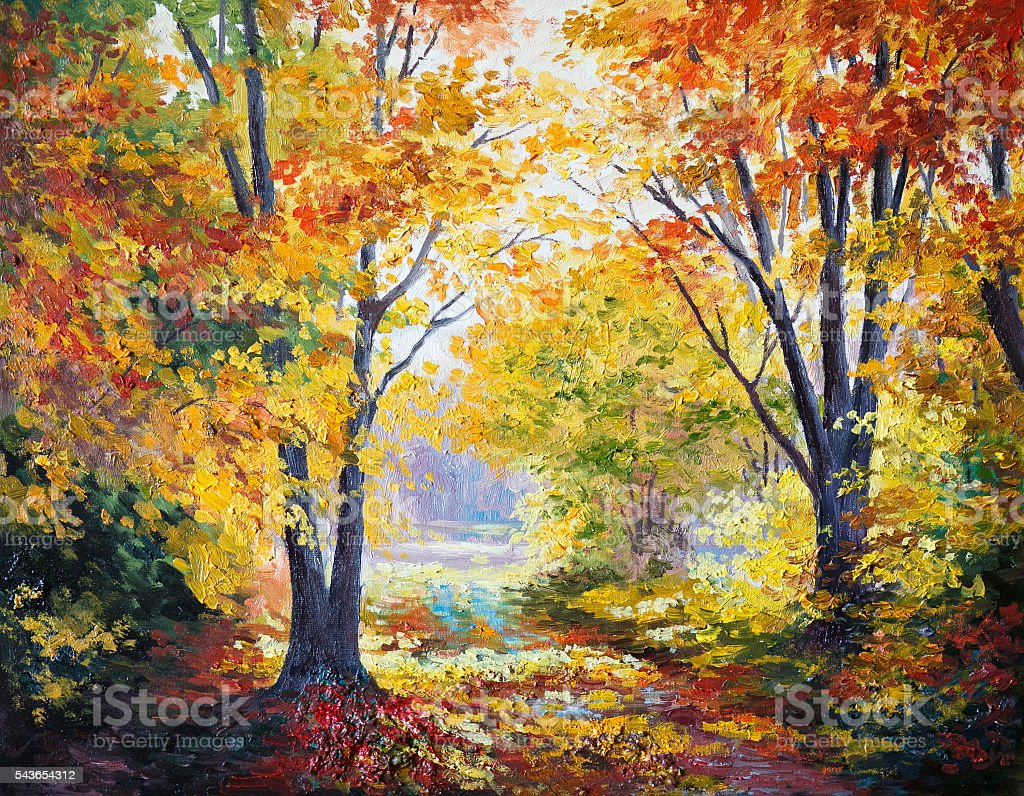 oil painting on canvas - autumn forest stock photo