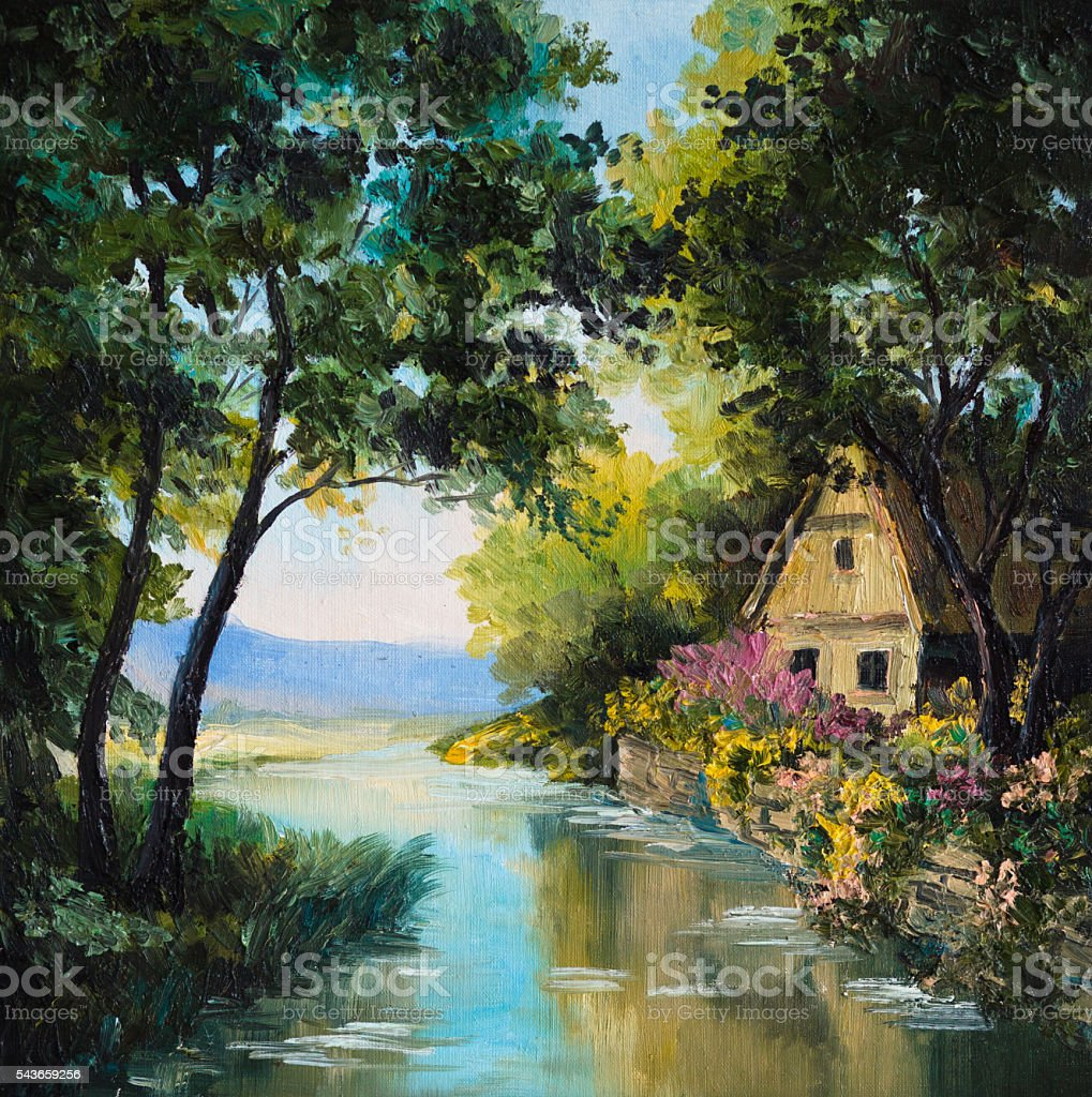 oil painting on canvas - house near the river stock photo