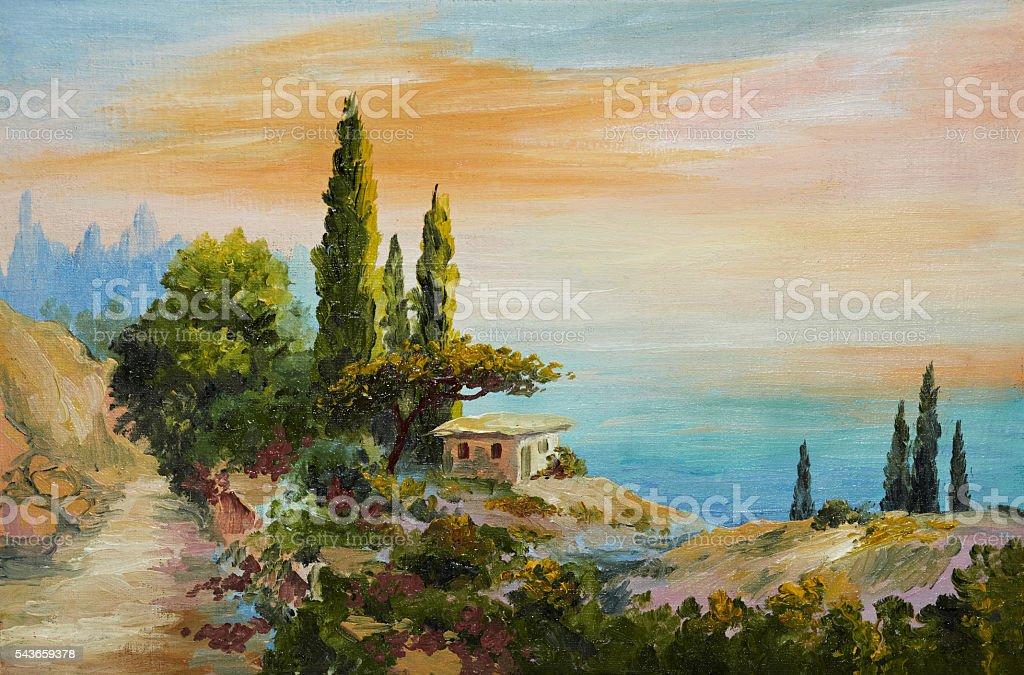 oil painting on canvas - house on the beach stock photo