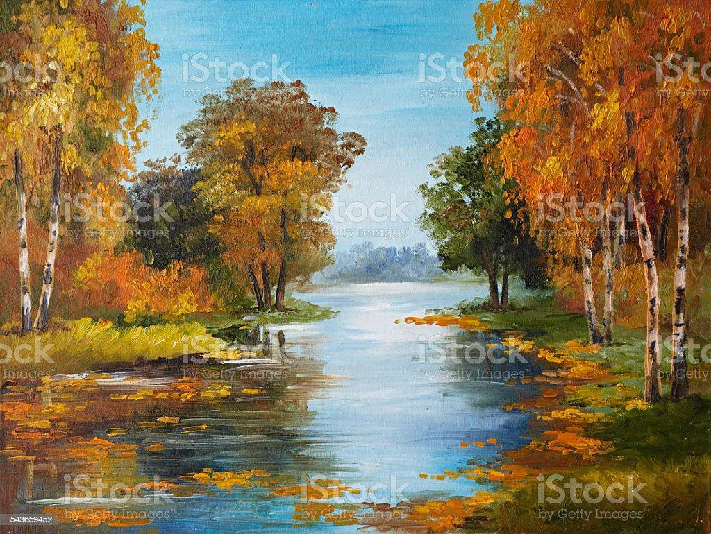 oil painting on canvas - river in forest stock photo