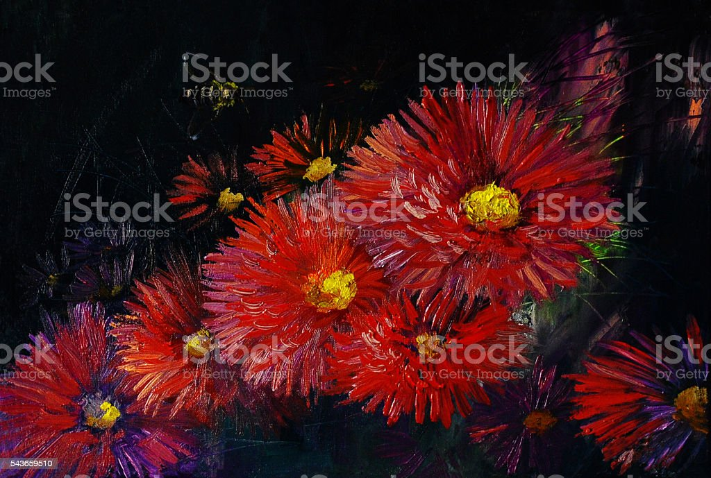 Oil painting on canvas - still life flowers stock photo