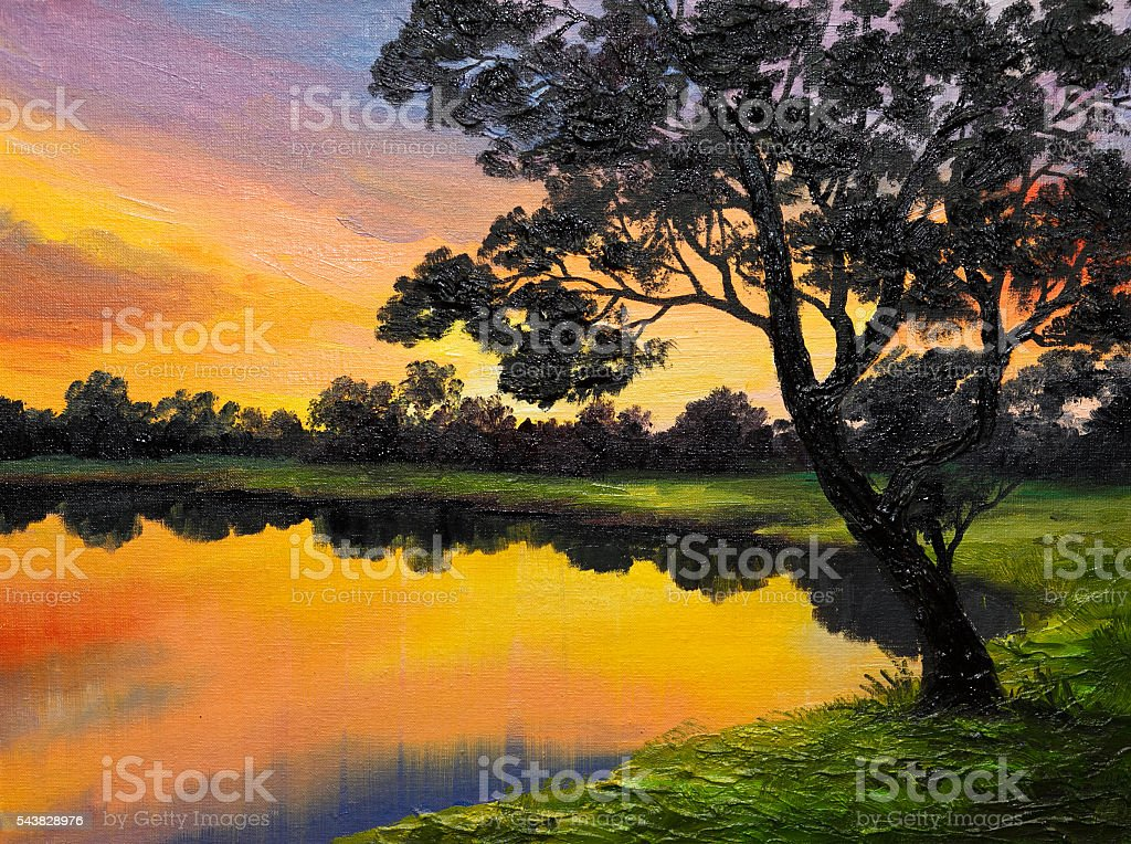 oil painting on canvas - tree near the lake stock photo