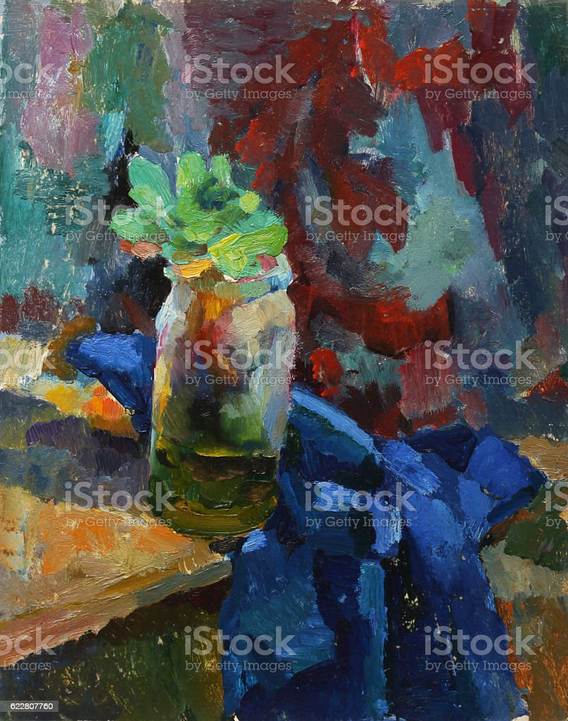 Oil painting. Still life with vase and plants royalty-free stock photo
