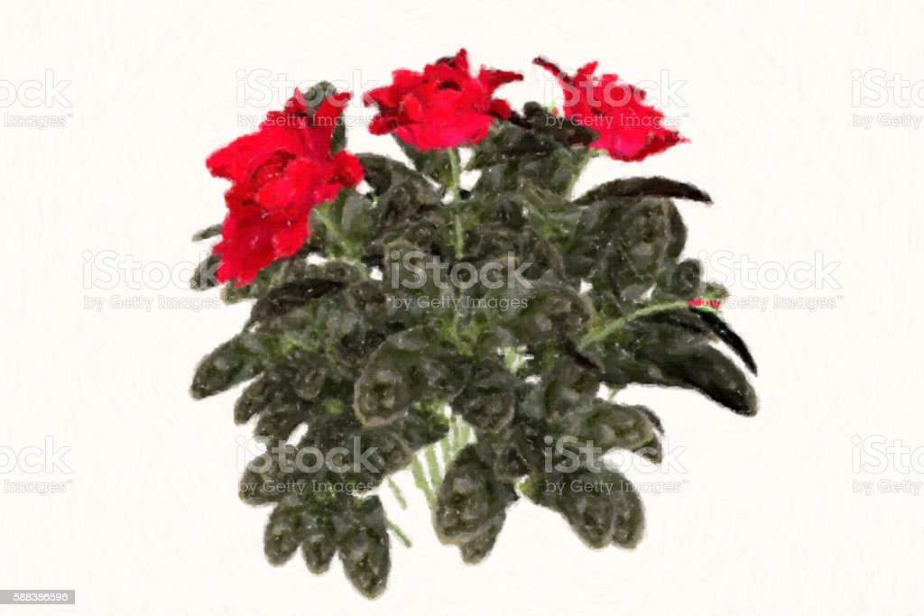 Oil painting style of beautiful flowers stock photo