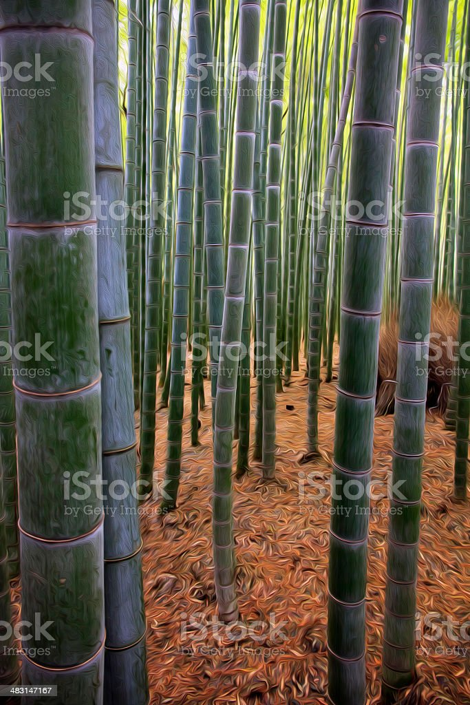 oil painting stylized photo of Bamboo Forest stock photo