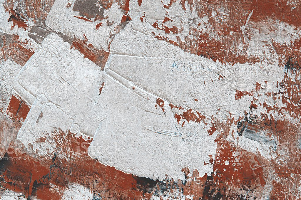 Oil painting white red brown abstract  background. Palette knife oil paint. stock photo