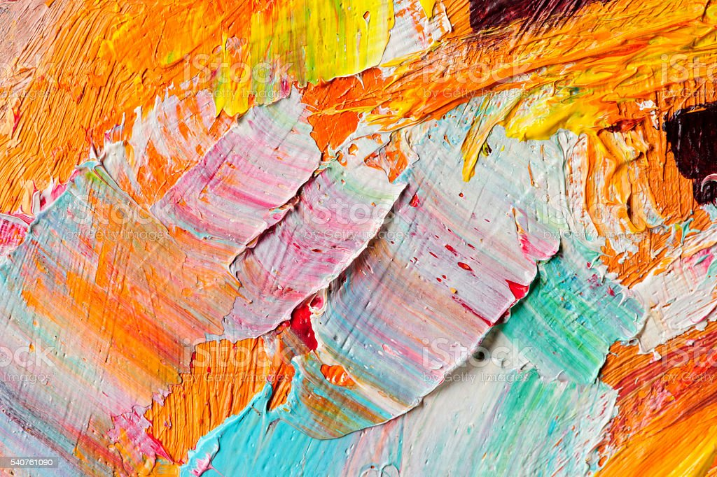 Oil paints macro stock photo