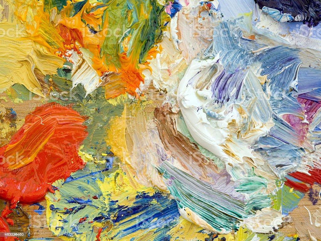Oil paints palette vibrant multi-coloured full frame background close up vector art illustration