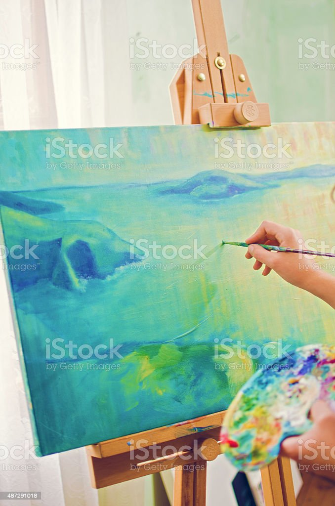Oil paiting stock photo