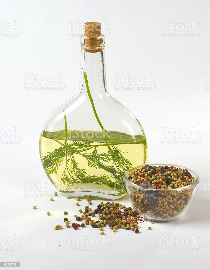 Oil, pepper and fennel royalty-free stock photo