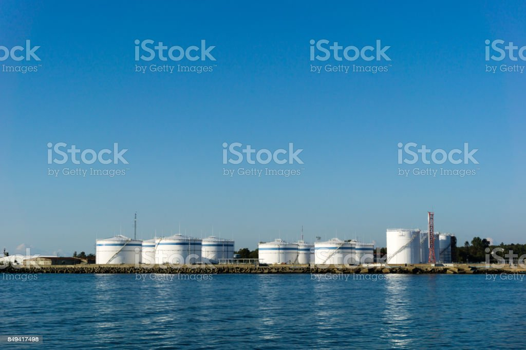 oil petroleum storage terminal in port stock photo