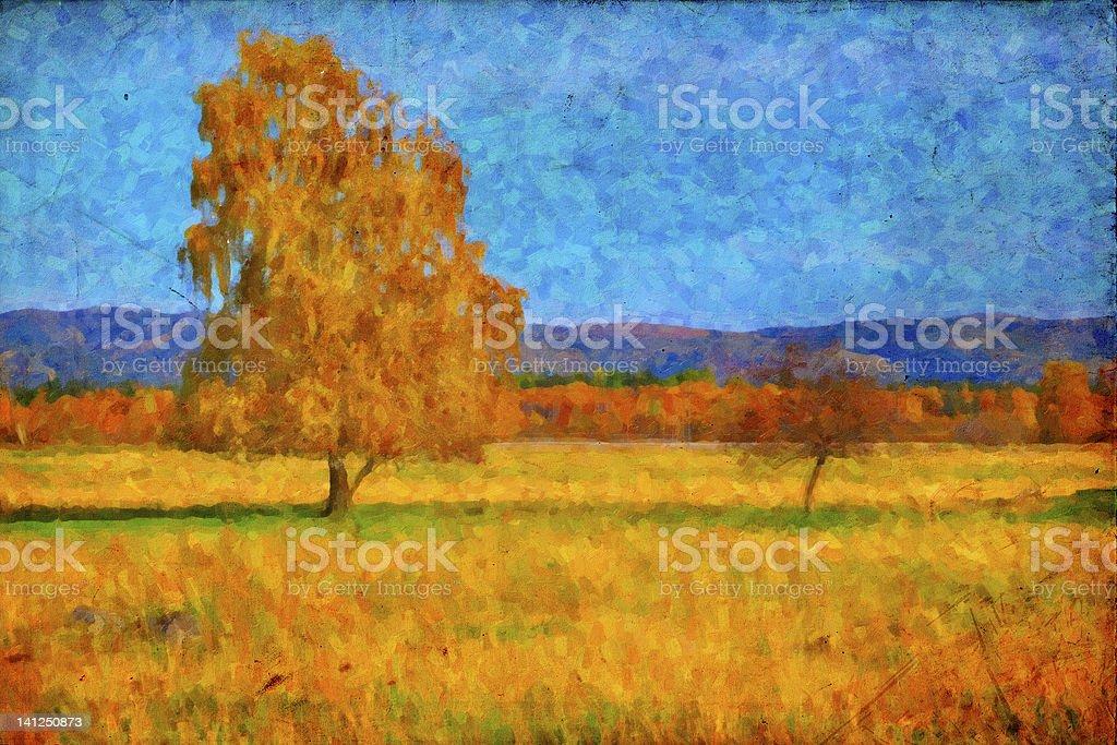Oil picture a autumn landscape stock photo