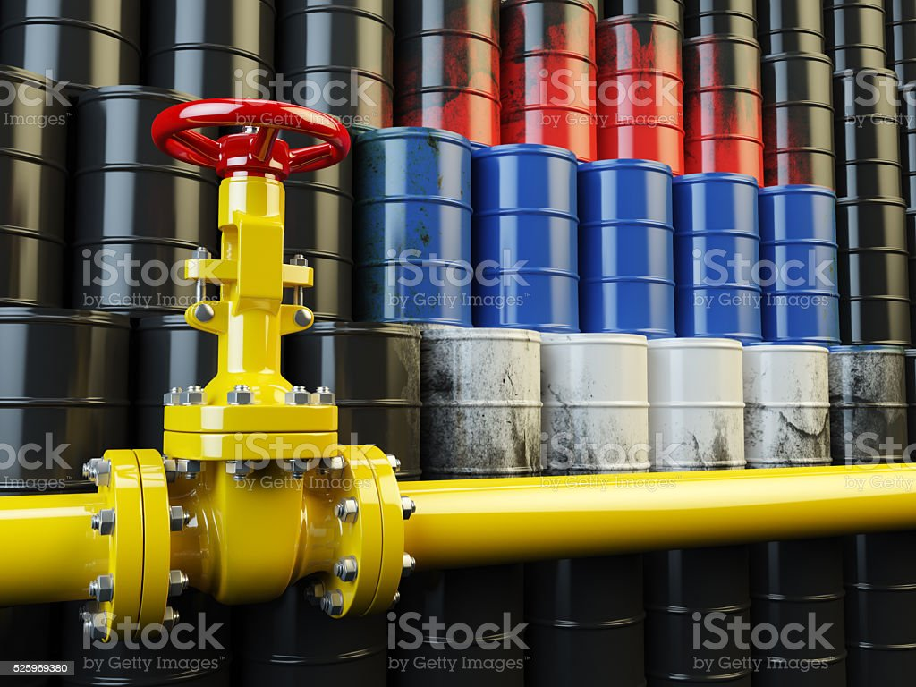 Oil pipe line valve in front of the russian flag stock photo
